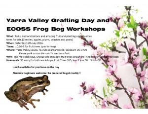Grafting and Frog Bog Day flyer